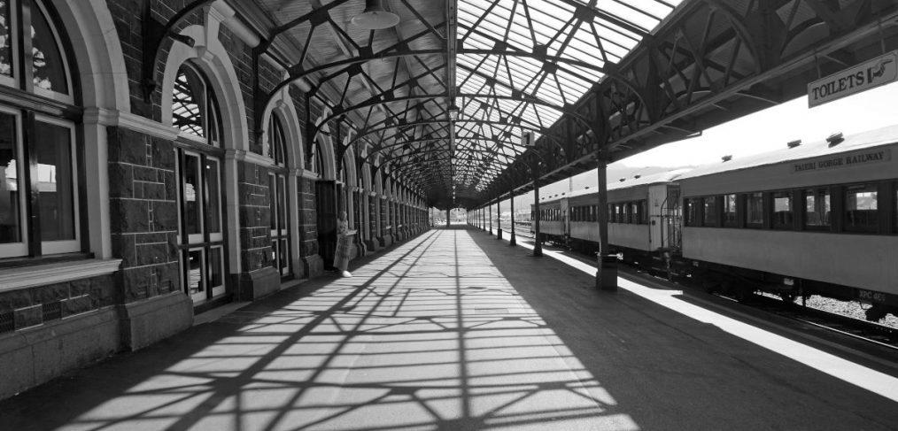 Empty railway platform